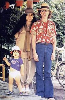 Left To Right Sean Lennon Yoko Ono John